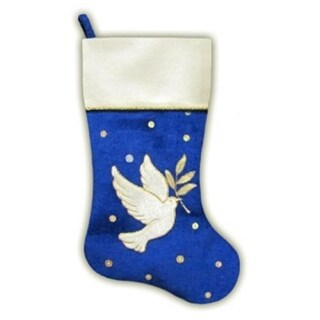"20.5"" Royal Blue and White Velvet Dove with Twig Decorative Christmas Stocking"