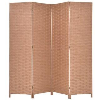 Gymax Folding 4 Panel Hinged Room Divider Woven Paper Rattan Screens Natural