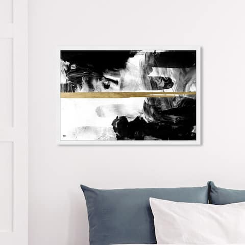 Oliver Gal 'Halfway Black and White' Abstract Wall Art Framed Print Textures - Black, White
