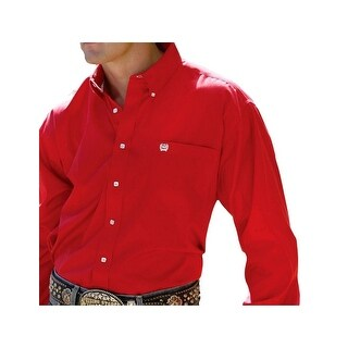 Cinch Western Shirt Mens Long Sleeve Solid Pinpoint Red
