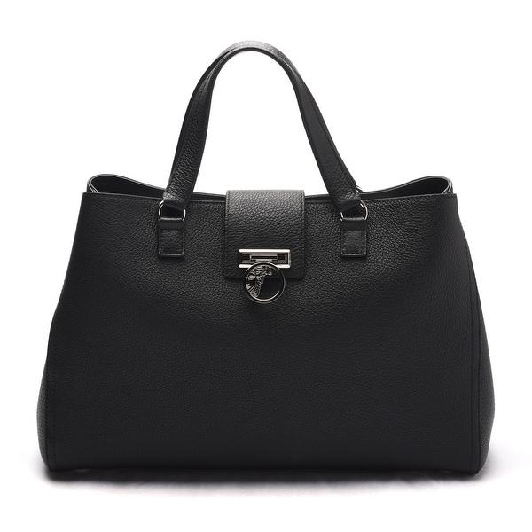 Versace Collection Women Pebbled Leather Medusa Top Handle Handbag Satchel Black - M