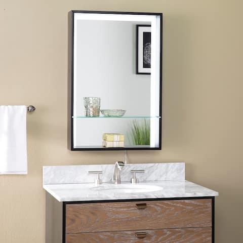 Porch & Den Webster Contemporary Black Wood Lighted Mirror
