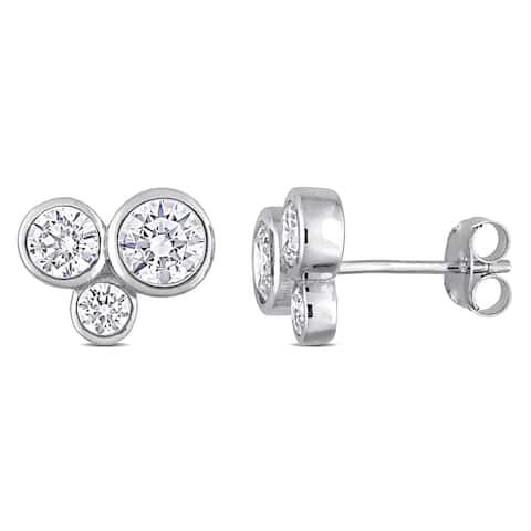 Miadora Cubic Zirconia 3-Stone Graduated Stud Earrings in Sterling Silver
