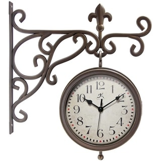 Beauregard Double-Sided Clock and Thermometer Combo Outdoor Clock