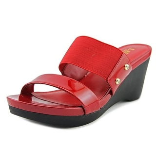 Lauren Ralph Lauren Rhianna Women  Open Toe Patent Leather Red Wedge Heel