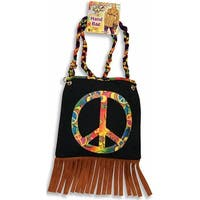 60's 70's Hippie Peace Sign Costume HandBag Purse - Black