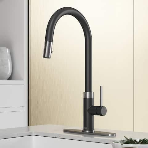 "VIGO Bristol Pull-Down Kitchen Faucet with Deck Plate - 9.75""L x 9.875""W x 19""H"