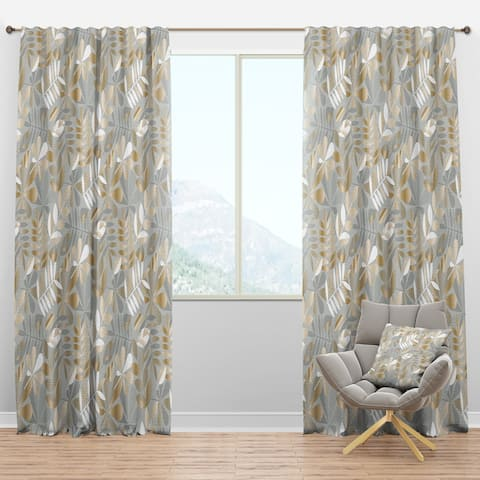 Designart 'Golden Tropical Pattern VIII' Mid-Century Modern Blackout Curtain Panel