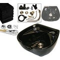 LCL Beauty Heart Shaped Ceramic Black Shampoo Bowl with Vacuum Breaker and 6 Towels - Thumbnail 0
