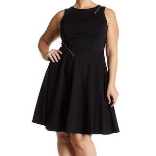 ABS Womens Plus Zip-Detail Fit N Flare Sheath Dress