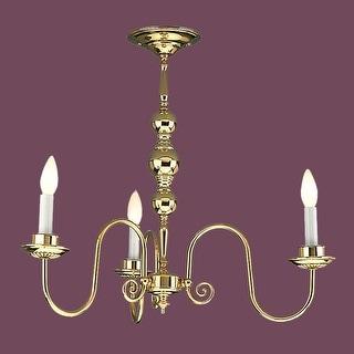 Vintage Chandelier Bright Brass 3 Candle Lights