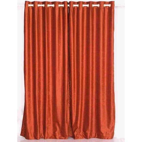 Rust Ring / Grommet Top Velvet Curtain / Drape / Panel - Piece