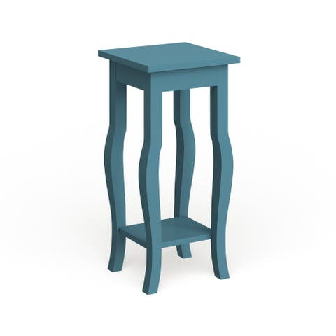 Copper Grove Rossignol Wood Curved Leg End Table with Shelf