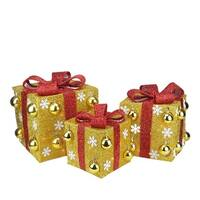 Set of 3 Gold Tinsel Gift Boxes with Red Bows Lighted Christmas Outdoor Decorations
