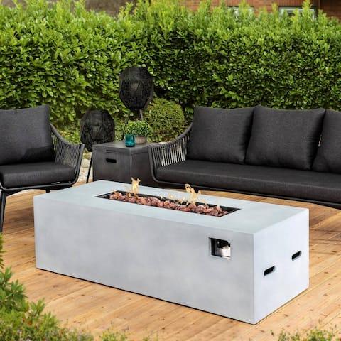 Adair Outdoor Garden Grey Rectangle Propane Fire Table with Lave Rocks.