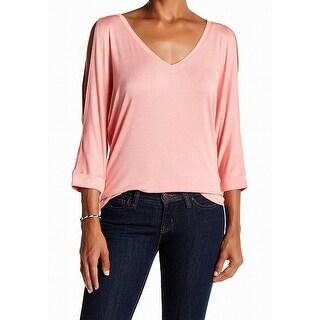 Michael Stars NEW Pink Women Size Medium M Cold-Shoulder V-Neck Knit Top
