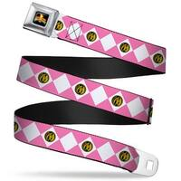 Power Rangers Logo Full Color Diamond Pink Ranger Webbing Seatbelt Belt Seatbelt Belt