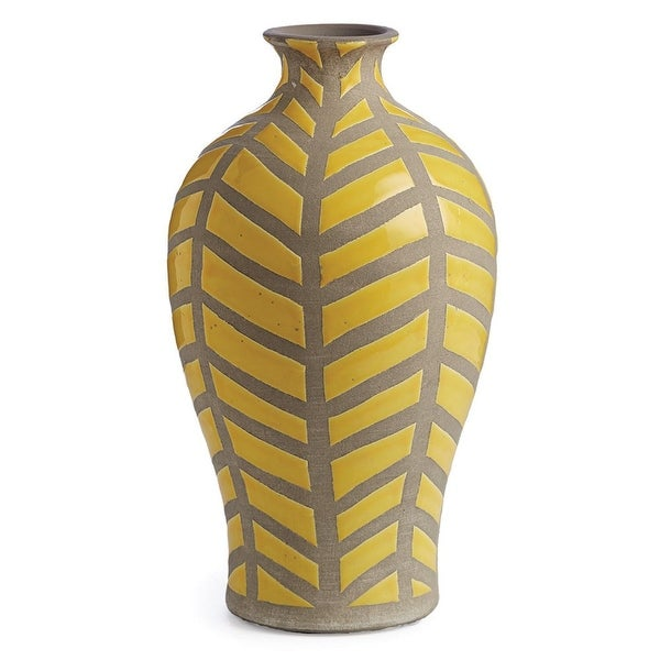 135 Yellow And Gray Handcrafted Decorative Ceramic Silhouette Vase
