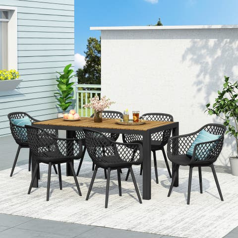 Roma Outdoor Wood and Resin Outdoor 7 Piece Dining Set by Christopher Knight Home