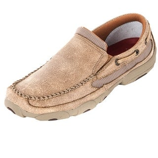 Twisted X Casual Shoes Boys Kids Leather Driving Moc Tan YDM0004