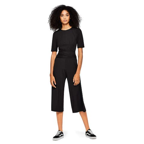 find. Women's Jumpsuit Ribbed Jersey Crop Fit Short Sleeves, Black, S (US 4-6)