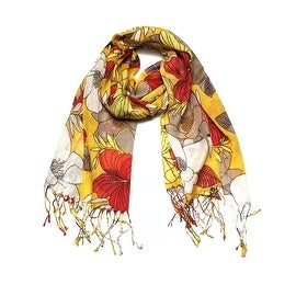 Women's Fashion Floral Soft Wraps Scarves - F10 Camal Yellow