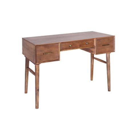 Donoghue Handmade Traditional Mango Wood 3 Drawer Desk