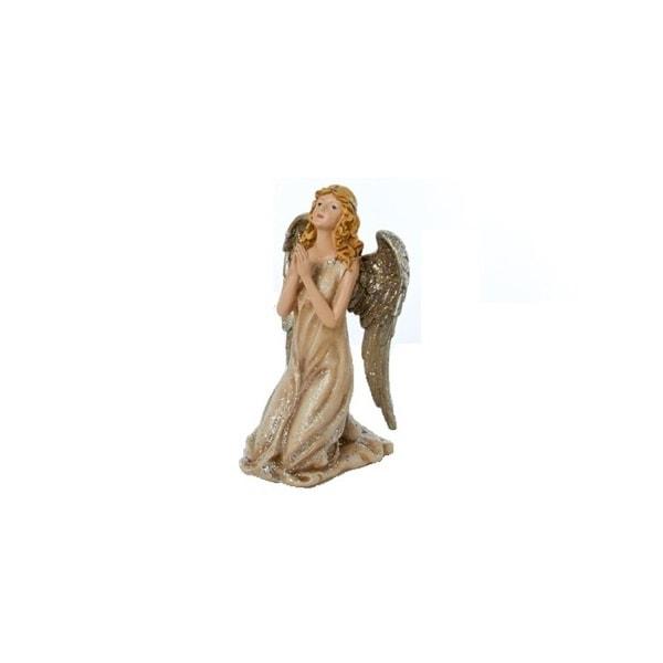 "8.75"" Winter's Glen Gold Glittered Champagne Angel Christmas Figurine"