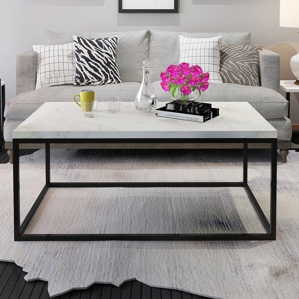 Gymax Modern Rectangular Tail Coffee Table Metal Frame Living Room Furniture Black And Marble