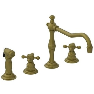 Newport Brass 943 Chesterfield Double Handle Widespread Kitchen Faucet With  Side Spray And Metal Cross Handles