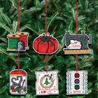 """3""""X3"""" 14 Count Set Of 6 - Sewing Ornaments Counted Cross Stitch Kit"""