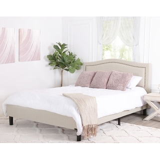 Link to Abbyson Napa Beige Nailhead Platform Bed Similar Items in Bedroom Furniture
