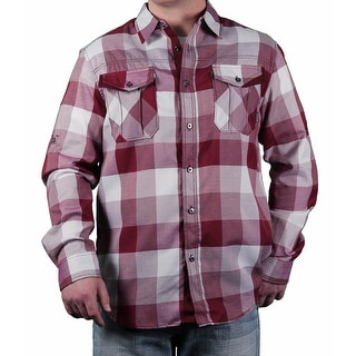 MO7 Men's Yarn-Dyed Checker Long Sleeve Woven Shirt