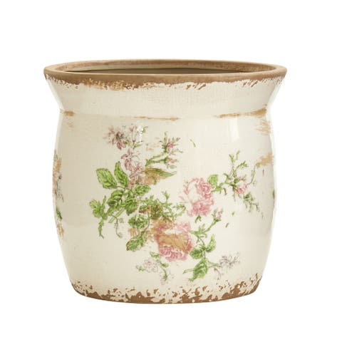 "8"" Tuscan Ceramic Floral Print Planter"