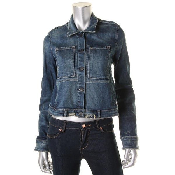 McGuire Womens Agnelli Denim Jacket Destroyed Button-Up