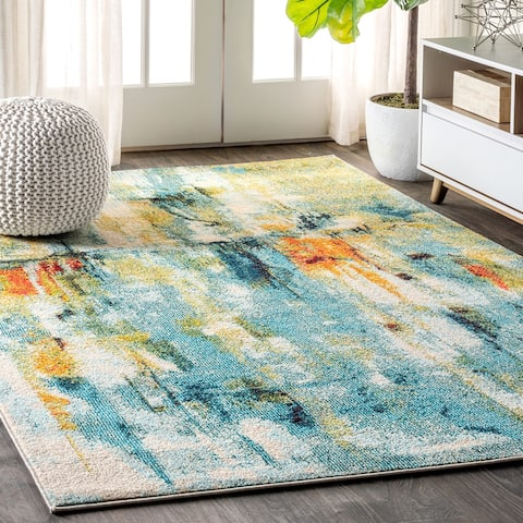 Contemporary POP Modern Abstract Waterfall Blue/Cream Area Rug