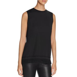 DKNY Womens Petites Tunic Top Fringe Sleeveless