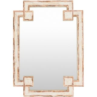 "37.8"" Contemporary Ivory Mother of Pearl Finished Wooden Framed Wall Mirror - Brown"