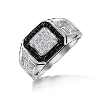 Mens 925 Sterling Silver Halo Square White Black CZ Engagement Ring