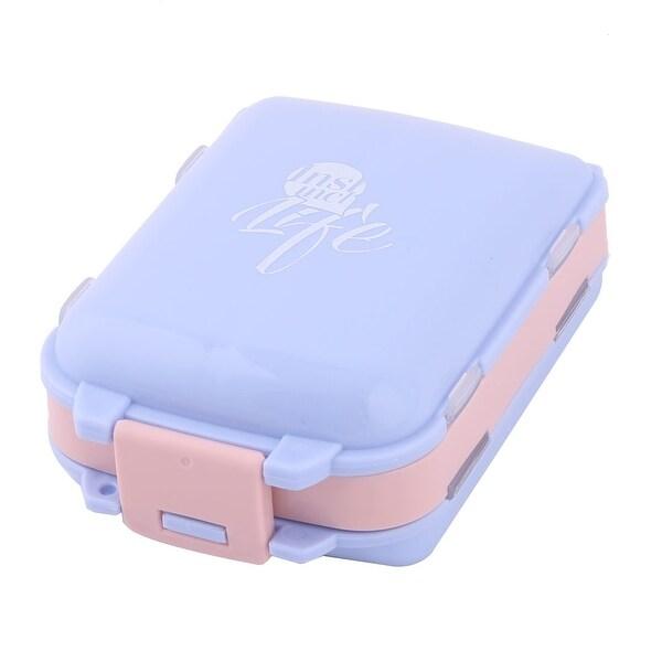 Outdoor Plastic 8 Compartments Capsule Pills Foldable Storage Box Case Light Purple