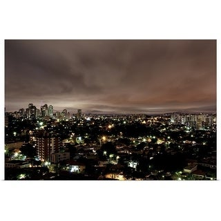 """Night cityscape, Sao Paulo, Brazil"" Poster Print"