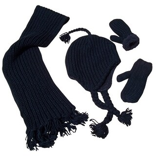 NICE CAPS Unisex Adult Bulky Waffle Knit 3 Piece Set With Sherpa Lining - Black - One size
