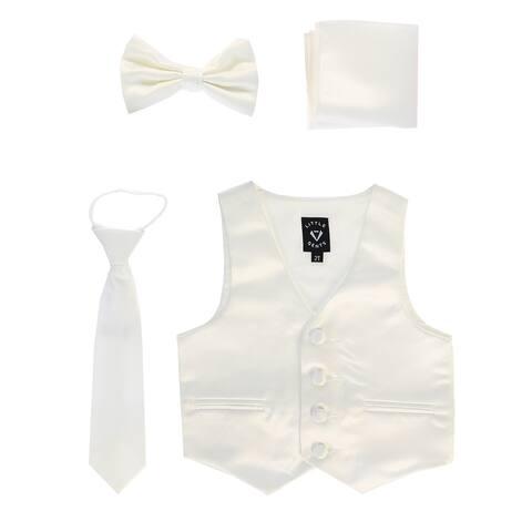 Lito Baby Boys Ivory Satin Vest Zipper Tie Hanky Bowtie Clothing Set 3-6M - 3-6 Months