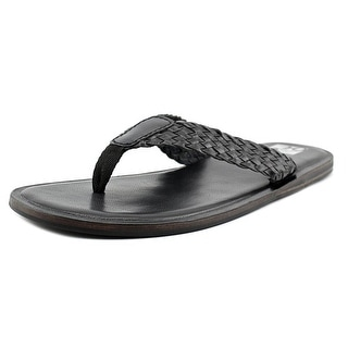 29 Porter Rd Dryden Men Open Toe Leather Black Thong Sandal