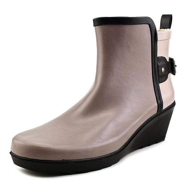 Chooka Colorblocked Wrap Wedge Bootie Women Round Toe Synthetic Gray Rain Boot