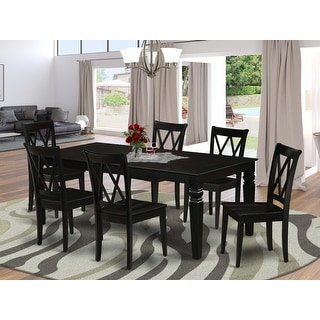 Link to Rectangular 66/84 Inch Table and Wood Seat Dining Chairs in Black Finish (Number of Chairs Option) Similar Items in Dining Room & Bar Furniture