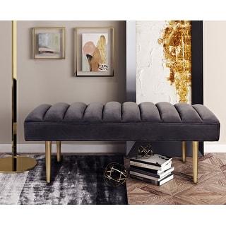 Link to Jax Grey Velvet Bench Similar Items in Living Room Furniture