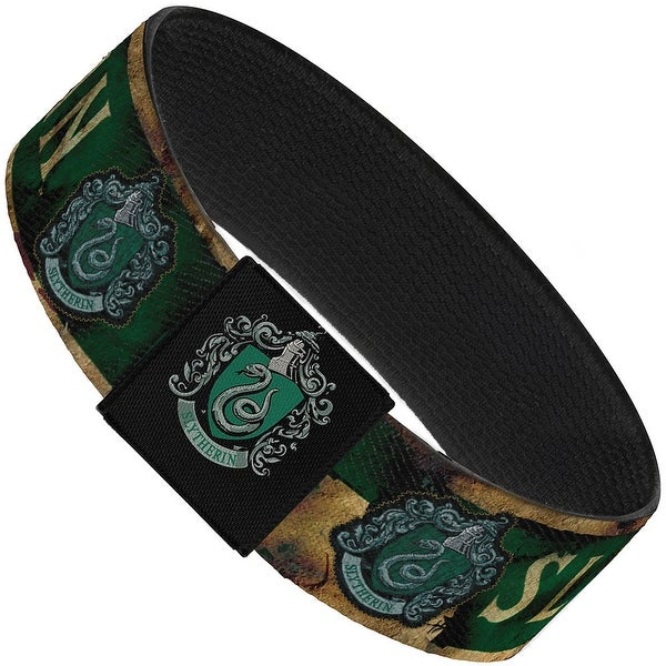 """Slytherin Burnt Banner Patch Gold Green Elastic Bracelet 1.0"""" Wide"""