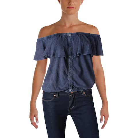 We The Free Womens Love Letter Knit Top Linen Off The Shoulder