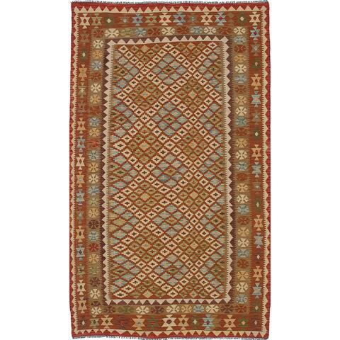"ECARPETGALLERY Flat-weave Izmir Brown, Cream Wool Kilim - 5'1"" x 8'8"""